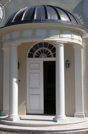 Front door with columns